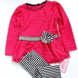 Nanette 2Pc Peplum Top & Bow Leggings Set  3T